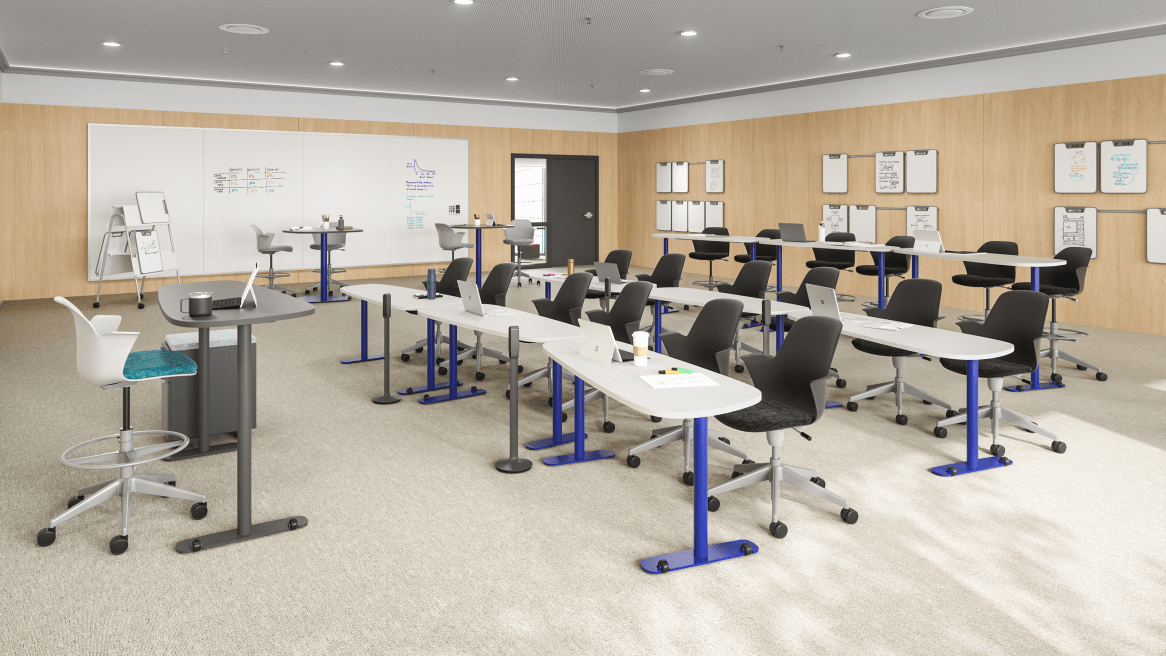 Collaborative Classroom equipped with white Elbrook Tables with blue base and gray Steelcase Node Chairs.