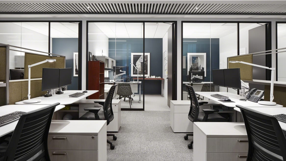 work space with Think chairs