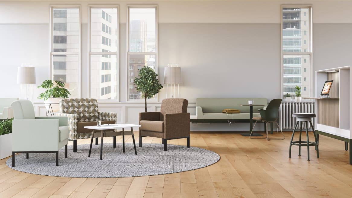 Waiting Lobby in a Healthcare space equipped with Leela Loung Seating in a variety of colors.