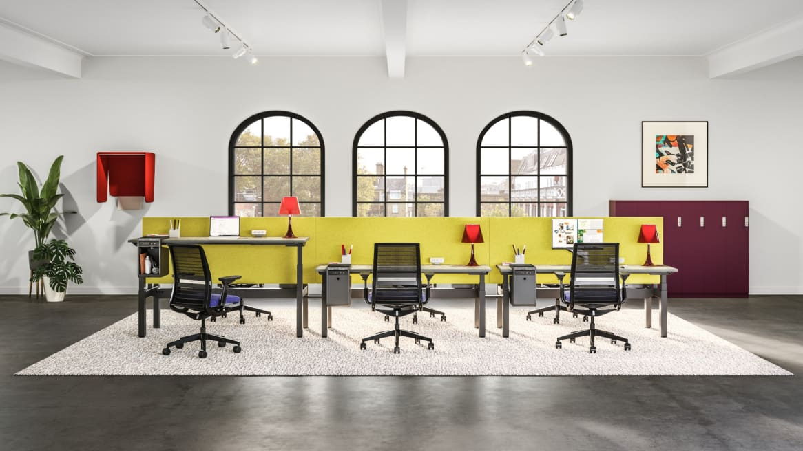 office setting with migration se bench, yellow screens