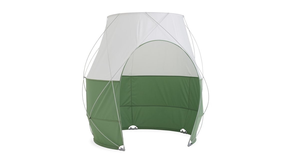 white background of a green Pod Tent