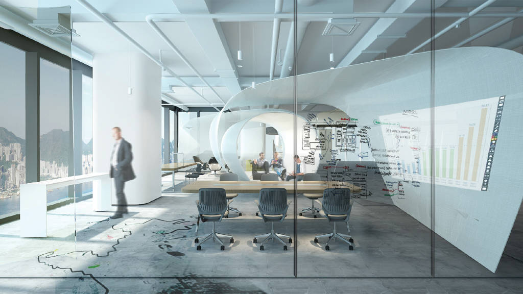 GENSLER, SHANGHAI: 2nd PLACE Instead of walls, Gensler used curved glass screens and furniture to define areas for teamwork, concentration and social exchange.