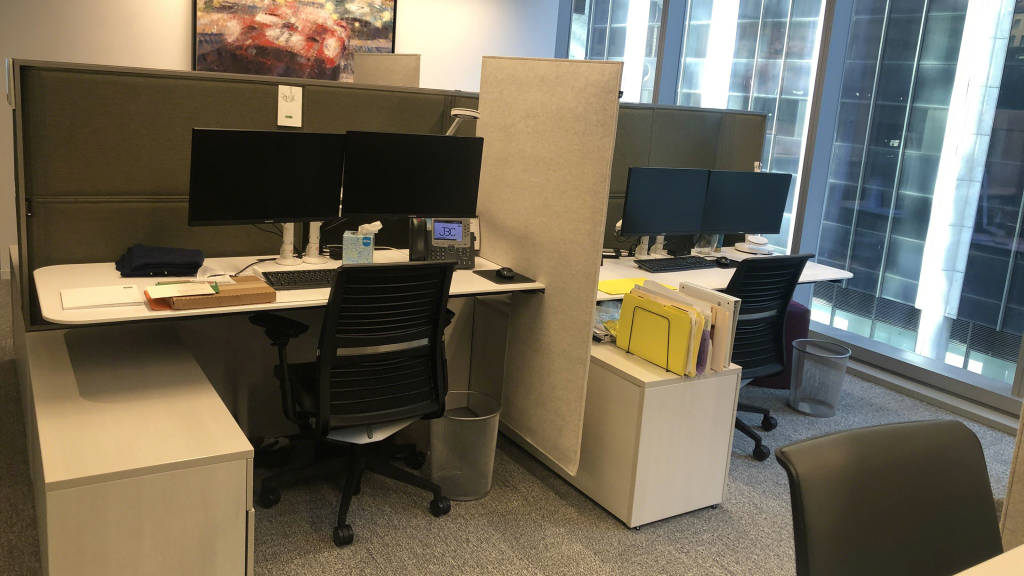 work area with steelcase desk and chair