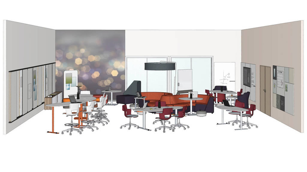 rendering of a classroom with Steelcase Elbrook Collaborative Table, Shortcut Chairs and stools, Orangebox Away from the Desk, Clipper Screen