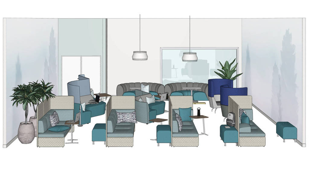 rendering of a napping room with Coalesse Lagunitas Lounge, Campfire Skate Table, Elbrook Personal Table, Alight Ottoman,Orangebox Away From The Desk, West Elm Work Bell