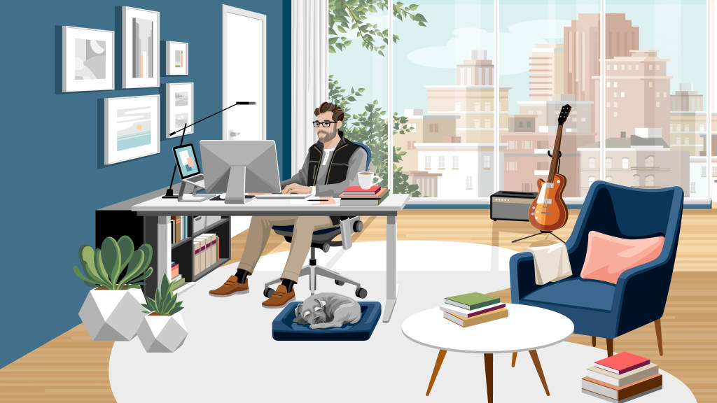 illustration of a man working from home inside a private room