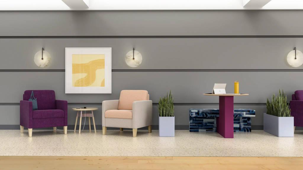 waiting area with Sieste Lounge, Embold Table, Regard, Orange Box