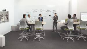 People meet in a room with cobi stool height chairs and Steelcase media:scape