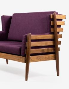 A vertical wood slat purple lounge chair by Hunt & Noyer