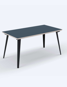 A black rectangular coffee table with black legs by Floyd on white