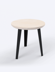 A round end table with natural wood top and black legs by Floyd.