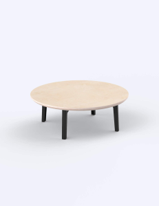Round coffee table with wood top and black legs by Floyd