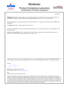 Coalesse Enea Altzo943 Seating Compliance Certificate