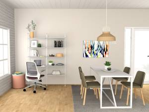small home office space in dining room