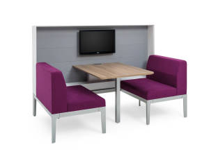 Rendering of a common space with two purple Regard seatings and a wooden table in the middle
