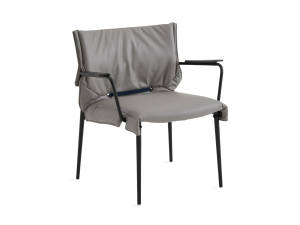 simple lounge chair with gray cushion and black base