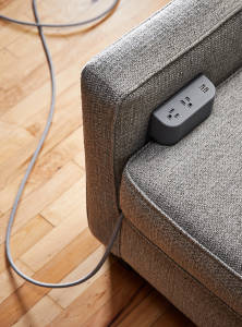 power source on a couch from Hand & Craft