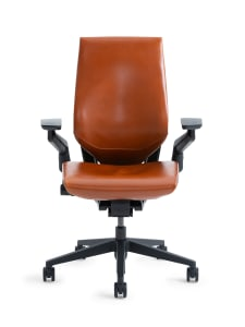 Gesture chair with brown natural leather upholstery