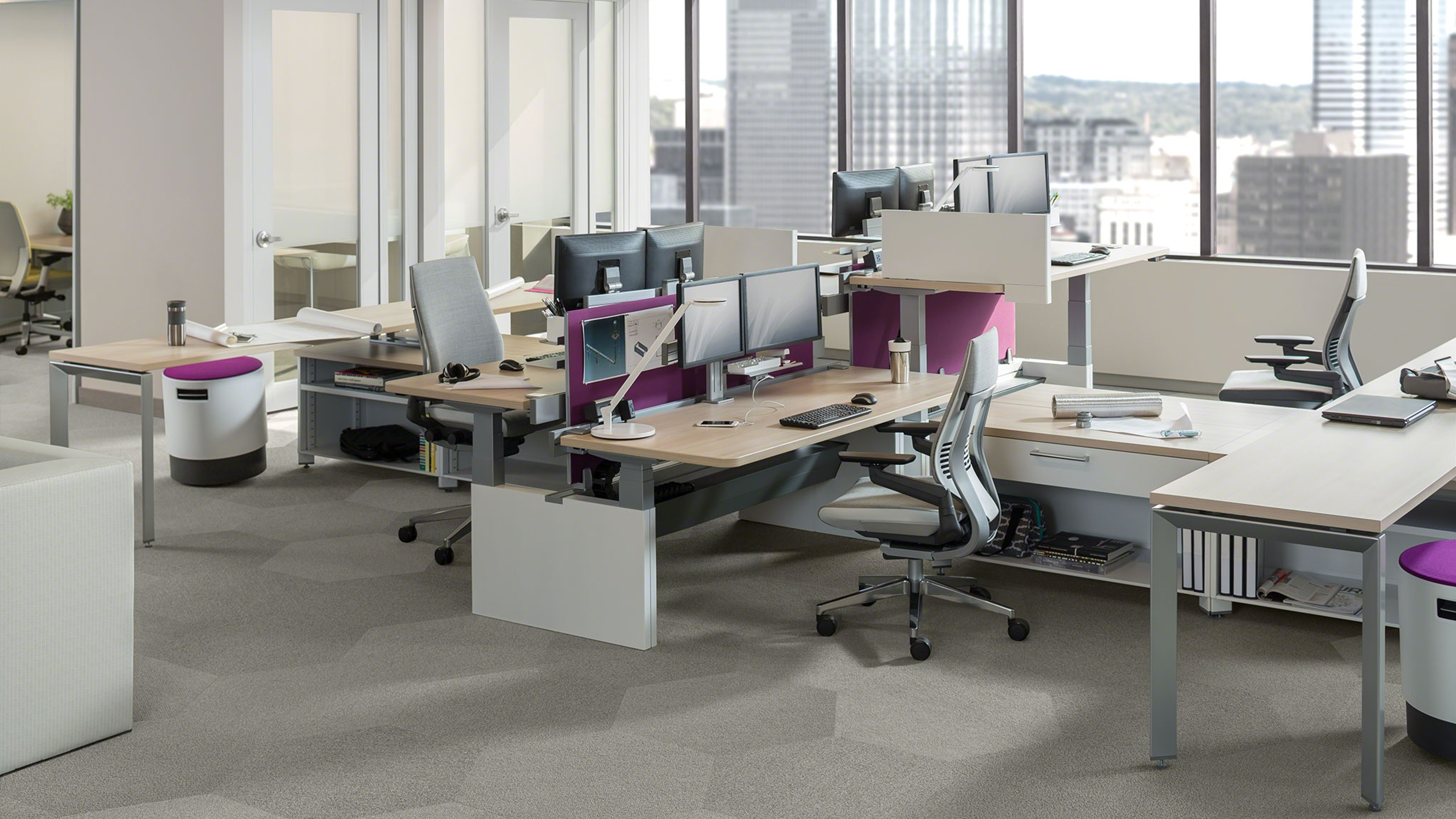 Series height adjustable office benches tables steelcase for Office images
