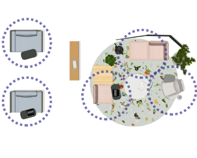 floorplan overhead view of social space